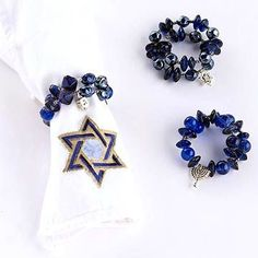 beaded napkin rings on memory wire.  Could also add shrinky dink charms.