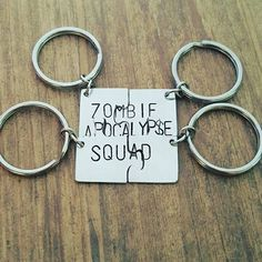 Set of 4 aluminum hand stamped zombie apocalypse squad puzzle piece set, gifts for friends, by miss ashley jewelry Zombie Apocalypse Outfit, Zombie Apocalypse Survival, Zombie Squad, Just In Case, Just For You, Piercings, Friend Necklaces, Friend Jewelry, Bff Quotes
