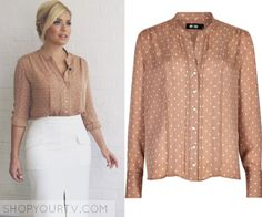 This Morning: May 2016 Holly's Beige Polka Dot Blouse
