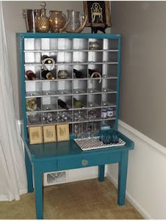 Vintage Post Office Mail Sorter Turned Wine Cabinet In A Pretty Teal