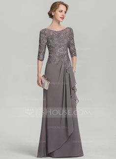 A-Line Princess Scoop Neck Floor-Length Chiffon Lace Mother of the Bride Dress With Cascading Ruffles 008131932 - Mother of the Bride Dresses - JJ s House Brides Mom Dress, Mother Of The Bride Dresses Long, Mothers Dresses, Long Mothers Dress, Bride Groom Dress, Vestidos Fashion, Fashion Dresses, Lace Evening Dresses, Lace Dress