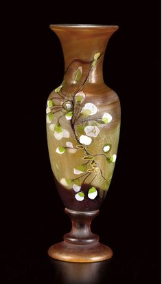 ** Emile Gallé, Nancy, (1846-1904), Blown, Internal Inclusions, Marquetry Inlays and Engraved Glass Vase.