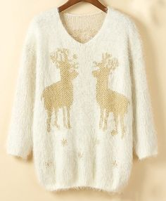 Beige Long Sleeve Deer Metallic Yoke Fluffy Sweater US$22.13