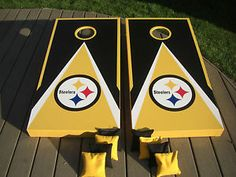 Regulation Size and ACA Certified Worn /& Distressed Pittsburgh Football Wood Slat Custom Cornhole Boards Game Set Includes Bags!