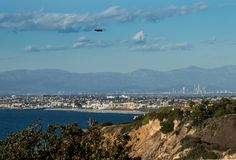 Nothing like a drive down the coast. The view from a cliff overlooking the South Bay beach cities of Los Angeles County, the blimp, and the high rises of downtown L.A.