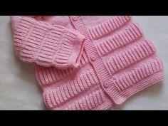 Selanik Örgü Tekniği - YouTube Baby Cardigan Knitting Pattern, Knitted Baby Cardigan, Knit Baby Sweaters, Baby Knitting Patterns, Knitting Designs, Knitted Hats, Crochet Baby Shoes, Crochet Clothes, Knitting Videos