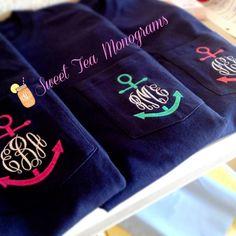Short Sleeve Anchor Monogram Pocket T-shirt gifts