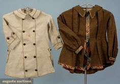 Toddlers' coats, mid-late 19th century;  1 brown and blue woven striped cotton, plaid velvet trim, faux peplum back; 1 natural linen twill with darker linen trim and vegetable plastic buttons