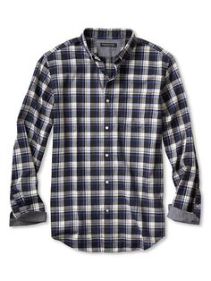 Slim-Fit Gray Check Luxe-Flannel Shirt