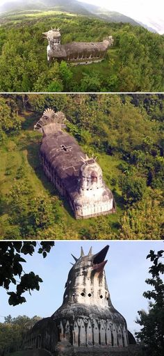 Deep in the dense forests of Central Java, towering above the surrounding trees, lies an abandoned, crumbling church in the shape of a giant chicken | travel | | Indonesia | travel destinations