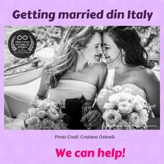 Getting married in Italy can be tricky but it doesn't have to be that way.  Let us help you finding the right vendors  www.weddinganditaly.com Getting Married In Italy, Got Married, Same Love, Lesbian Wedding, Italy Wedding, That Way, Engagement, Black And White, Wedding Dresses