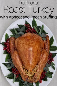 Traditional Roast Turkey with Apricot and Pecan Stuffing Yummy Food, Tasty, Delicious Meals, Turkey Prep, Whole Turkey Recipes, Roasted Turkey, Pecan, Family Meals, Cooking Tips