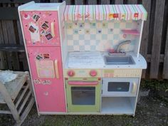 Picked up Free Curbside/just a photo to keep to remember what Graham's kitchen looked like before we revamped it! Diy Play Kitchen, Play Kitchens, Kitchen Ideas, Baby Girls, Little Girls, Dress Up Storage, Kids Outdoor Play, Princess Gifts, Play Spaces