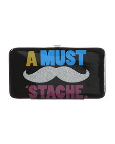 Stache your cash in this rue21 Mustache Wallet. $9.99, thats cute! need to get this!!!