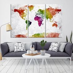 35909 - Large Wall Art World Map Canvas Print- Navy Blue Watercolor World Map Travel Canvas Print- Modern XXL Large Wall Art World Map Canvas Print