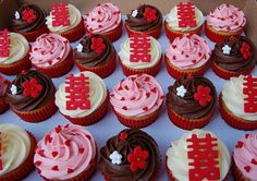 """Chinese """"Double Happiness"""" wedding cupcakes by Little Paper Cakes, via Flickr"""