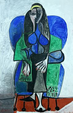 Pablo Picasso (1881-1973), Seated woman with green scarf, 1960, oil on canvas. Femme assise à l'écharpe verte. Sitzende Frau mit grünen Schal, Museum moderner Kunst, Vienna (Austrian Ludwig Foundation, on laon). Canon EOS 7D