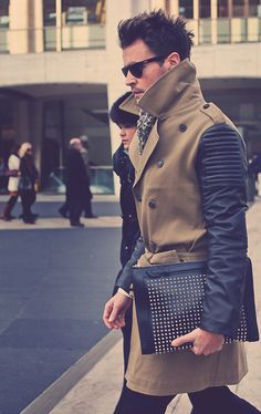 Wool Coat with leather sleeves - Brad Goreski at New York Fashion Week nyfw Mens Fashion Blog, New York Fashion, Men's Fashion, Winter Fashion, Fashion Clothes, Fashion Ideas, Fashion Inspiration, Mode Masculine, Men's Grooming
