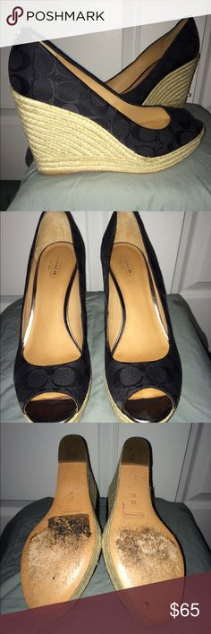 Coach high heel peek a boo shoes Black with Monogram C's--4.5 inch Cork screw high wedge--worn a couple times...bottom's are scuffed but shoes are in great shape. Coach Shoes Wedges