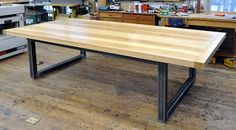 Dorset Custom Furniture - A Woodworkers Photo Journal: what kind of steel base can i have on my slab top table?