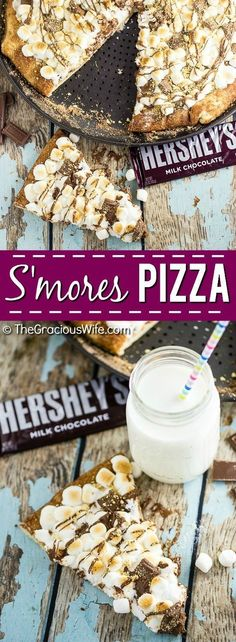 S'mores Pizza Recipe - S'mores Pizza with tons of gooey marshmallows and rich, decadent HERSHEY'S Milk Chocolate with a marshmallow cheesecake sauce, a chocolate drizzle, and a sprinkle of graham crac (Baking Cheesecake Graham Cracker Crust) Smores Pizza Recipe, Dessert Pizza, Pizza Recipes, Kinds Of Desserts, Just Desserts, Delicious Desserts, Yummy Food, Decadent Chocolate, Chocolate Drizzle