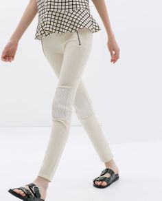 Image 3 of TROUSERS WITH KNEE PATCHES AND ZIPS from Zara