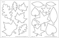 Different shapes and sizes, including maple and star-shaped. Easy Leaf shapes for Thankful tree we made Leaves Template Free Printable, Fall Leaf Template, Leaf Printables, Templates Free, Tree Templates, Applique Templates, Applique Patterns, Fun Crafts For Kids, Craft Stick Crafts
