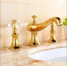 New arrival high quality gold bathroom faucet luxury 8 inch widespread bathroom sink faucet brass basin faucet,tap mixer(China (Mainland))
