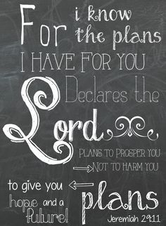 Jeremiah 29:11 Free Chalkboard Printable