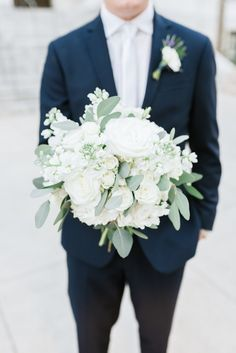 I also like the more simple greenery and white/cream for the bouquet. Love the groom's boutonniere here with the lavender accent haare hochzeit wreath wedding flowers flowers summer flowers white wedding White Wedding Bouquets, Floral Wedding, Bridal Bouquets, Diy Bouquet, Bridal Flowers, Trendy Wedding, Summer Wedding, Wedding Tips, Wedding Hacks
