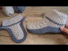 Бесшовные следки спицами с королевской косой 👑 Homemade knitted slippers 👌🏻 - YouTube Knitting Stiches, Easy Knitting, Knitting Socks, Knitting Patterns, Crochet Patterns, Knitting Machine, Crochet Socks, Crochet Baby Shoes, Knitted Slippers