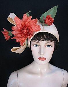 "Vintage Sz 23"" Mr John Straw Hat w Coral Flowers Fabulous 1553 | eBay"