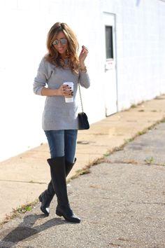 Sweater: Target -old, Jeans: Current/Elliott, Bag: Rebecca Minkoff, Necklace: BaubleBar