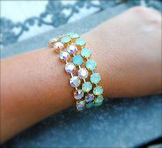 Aurora Borealis Mint Opal Blue Opal Bracelet by MASHUGANA on Etsy