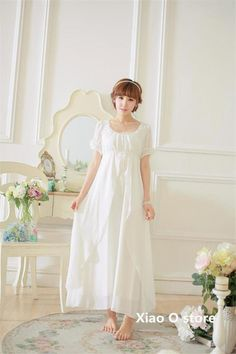 White Simple Round Neck Long Home dress Vintage $71.34   => Save up to 60% and Free Shipping => Order Now! #fashion #woman #shop #diy  http://www.homeclothes.net/product/white-simple-round-neck-long-home-dress-vintage