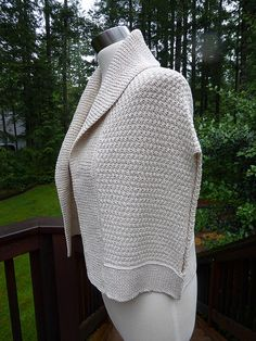 My take on an age-old classic. The wrap that wears like a sweater, and so much more comfortable and easy to get on and off than a shrug.