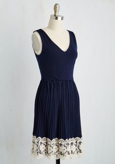 Personal Essayist A-Line Dress in Navy. As you reveal your story to the world, you cant help but radiate confidence, bolstered by this navy blue frock! #blue #prom #modcloth