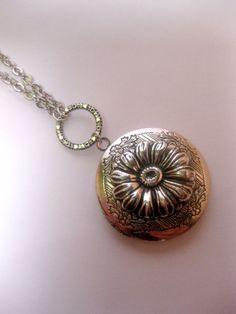 Silver Daisy Flower Portal Locket Necklace