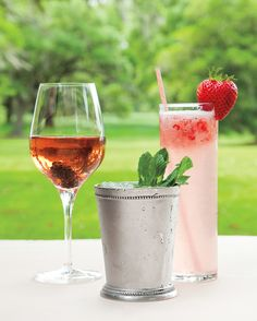 The couple offered three signature drinks: Kir royales, classic mint juleps, and strawberry soda made with vodka and muddled locally grown fruit.