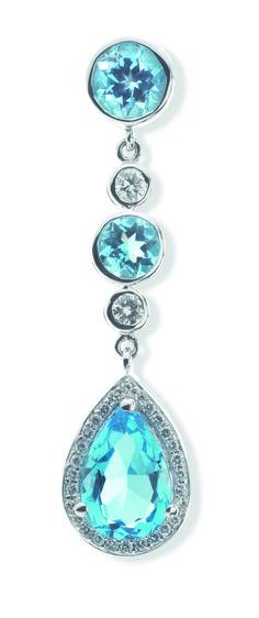 Rosendorff Aqua Collection Aquamarine and Diamond Drop Earring