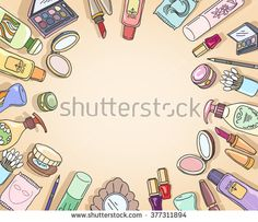 Cosmetics hand drawn top view frame with makeup brush eyeshadow. Vector illustration