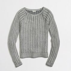 J Crew Tuck Knit Sweater J Crew Factory Tuck Knit Sweater. Style number C9736. Size: Medium. Length: Approximately 21 inches. Approximately 16 inches from armpit to armpit. Sleeve length: Approximately 21.5 inches from shoulder seam to wrist. Hits slightly above hip. Ribbed neck, cuffs, and hem. 37% viscose. 35% nylon, 28% merino wool. J. Crew Sweaters