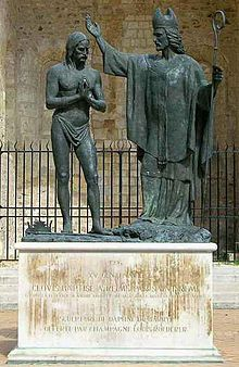 Saint Remigius - Wikipedia, the free encyclopedia Baptism of Clovis, at the side of the Abby of Saint-Remi, in Reims. Iron Age, Saint Remi, Anima Christi, Statues, Peter The Great, Plantagenet, My Family History, Dark Ages, Historical Pictures