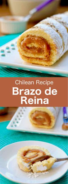 Brazo de reina (also called pionono) is a delicious traditional Chilean rolled cake stuffed with dulce de leche and sprinkled with coconut. Chilean Desserts, Chilean Recipes, Chilean Food, South American Dishes, Spanish Cuisine, Food Festival, Food Menu, International Recipes, Good Food