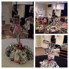 Table decorations for cheer banquet:  vases filled with spray painted peebles & branches. Black & white photos hung back to back with large paper clips from branches  .  Vases decorated with ribbon & buttons made to look like a broach and silver poms around base of vases.  Battery powered candles decorated with ribbon also