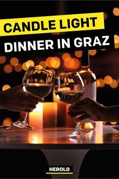 Der HEROLD verrät dir die besten Restaurants für dein Candle Light Dinner in Graz. Die Liebe gehört gefeiert! Ein romantisches Essen zu zweit im Kerzenschein ist dafür wie geschaffen – nicht nur für frisch Verliebte. #graz Candles, Dinner, Graz, Romantic Food, Candle Lit Dinner, Romantic Restaurants, Vacation, Amor, Tips
