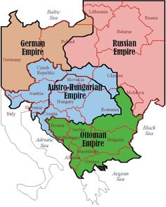 Austro-Hungarian Empire, German empire, Ottoman Empire (European parts), and Russian empire (European parts) with modern borders European Map, European History, World History, Ancient History, Family History, Austro Hungarian, Alternate History, Old Maps, Historical Maps