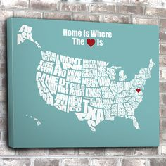 Home is Where the Heart Is USA Word Map Wedding or by inkofme