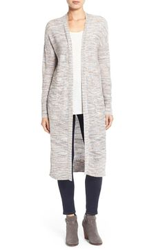 Caslon® Slub Knit Long Cardigan (Regular