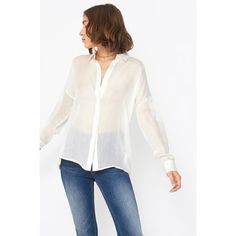 Anine Bing Sheer Drop Shoulder Shirt ($229) ❤ liked on Polyvore featuring tops, button downs, striped, striped shirt, oversized white shirt, white button up shirt, white sheer top and sheer top